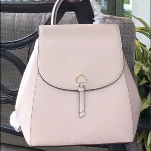 Kate spade adel backpack medium flap beige new